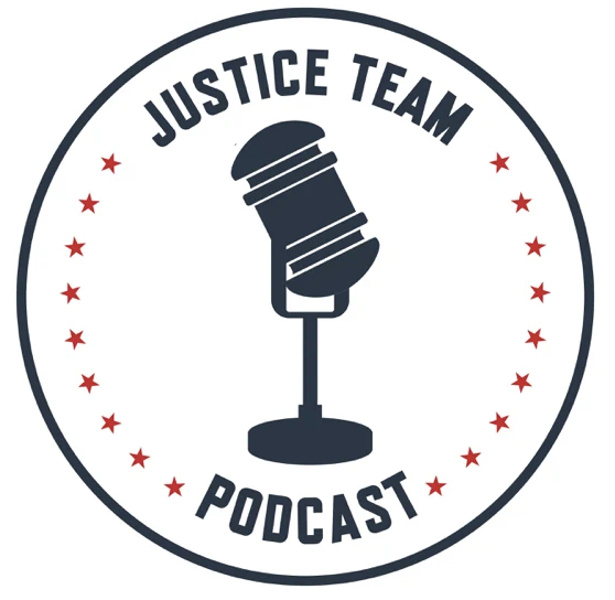 Justice Team Podcast logo with microphone in the center, surrounded by red stars